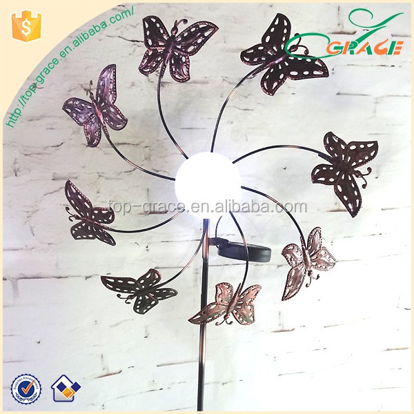 metal butterfly windmill with solar light ball garden windmill stake