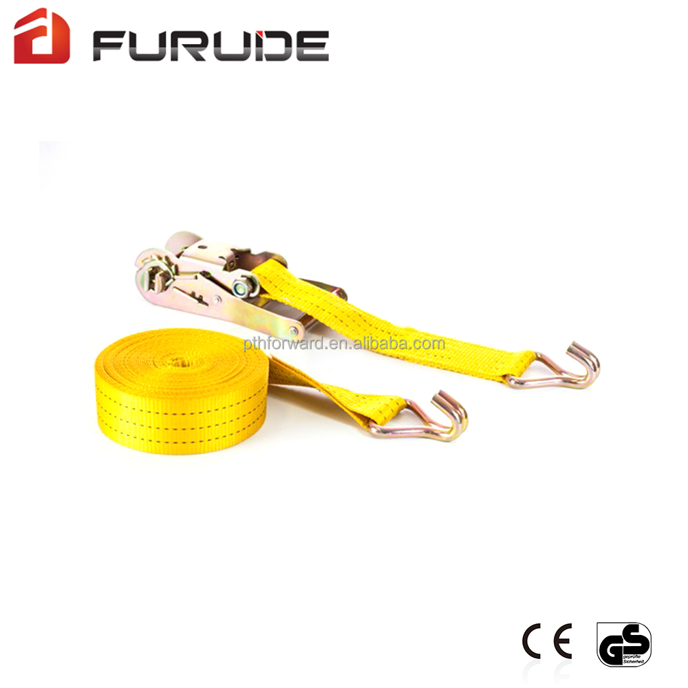Double J hook yellow ratchet straps yellow tie down straps