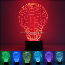Acrylic LED Table Desk Lamp 7 Colorful 3D Optical Illusion Night Light With ABS Base