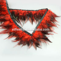 Fashion Wholesale Red Rooster Hackle Feather Fringe Dyed Coque Saddle Feather Trimming