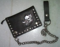 Studded premium PU leather biker travel wallet with long metal chain