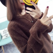 Design Of Hand Made Sweaters Imitated Mink Wool Comfortable Feel Straight Long Sleeve