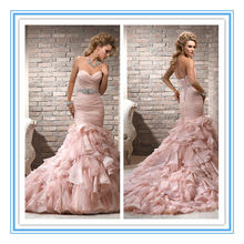 Elegant Mermaid Organza Crystals Belt Light Pink Wedding Dresses(WDS-1006)