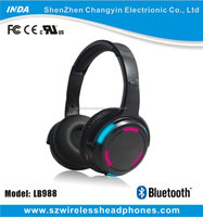 Dynamic LED light up Bluetooth headphones with mic volume control on each wireless headset LB988