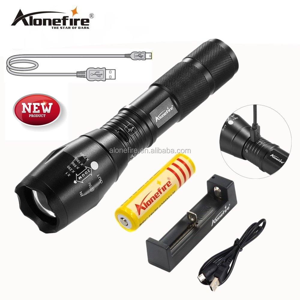 AloneFire G700-<strong>U</strong> Portable USB Rechargeable LED Flashlight LED Torch Zoomable Flashlight CREE XM-L T6 LED 5 Mode Light