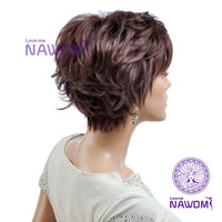 Inclined bang fluffy handsome short curly hair wigs