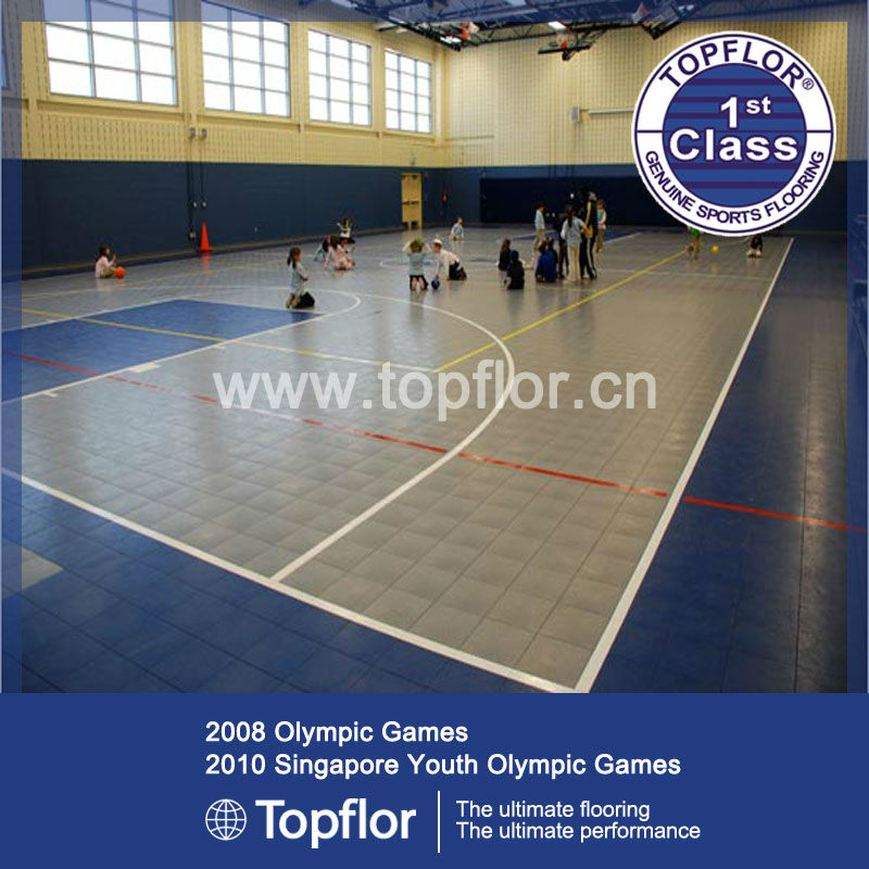 Indoor interlocking sports floor tiles for basketball court