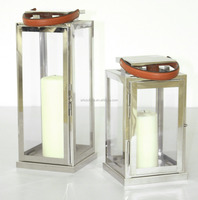 Polish glass metal lantern of leather handle