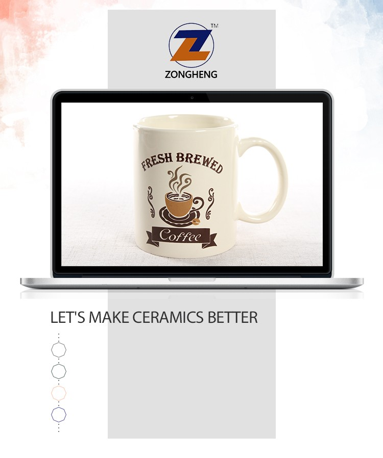 11oz ceramic stoneware coffee mug with logo decal printing