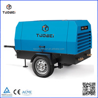 Diesel engine driven trailer 145psi screw air compressor used for oil-gas project