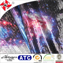 Fashionable Galaxy Sequin Printing Fabric on 100 Polyester Material for Stage Clothes