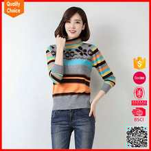 New arrival jacquard turtleneck 100% wool sweater designs for women