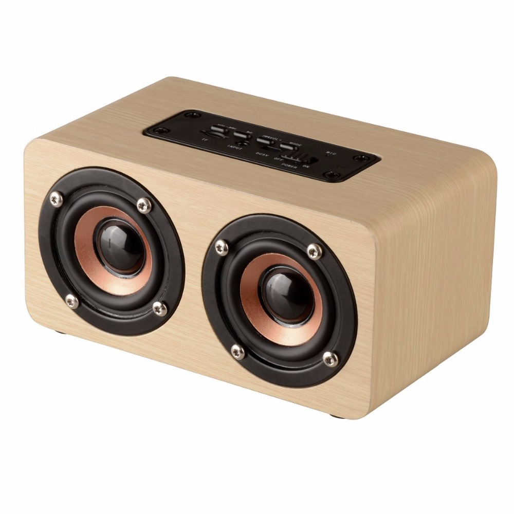 portable big bass dual stereo wooden bluetooth speaker