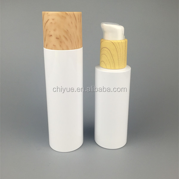 high quality 150ml 100ml pet plastic lotion a set cosmetic bottle with bamboo cap