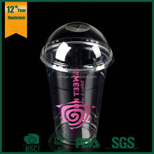 Custom personalized printed 12oz disposable 400ml PP plastic smoothies Cup with lids