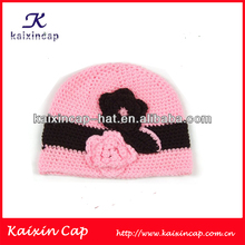 Hot Fashional Pink & Black Beanie Cap Knitted Cap With Flowers