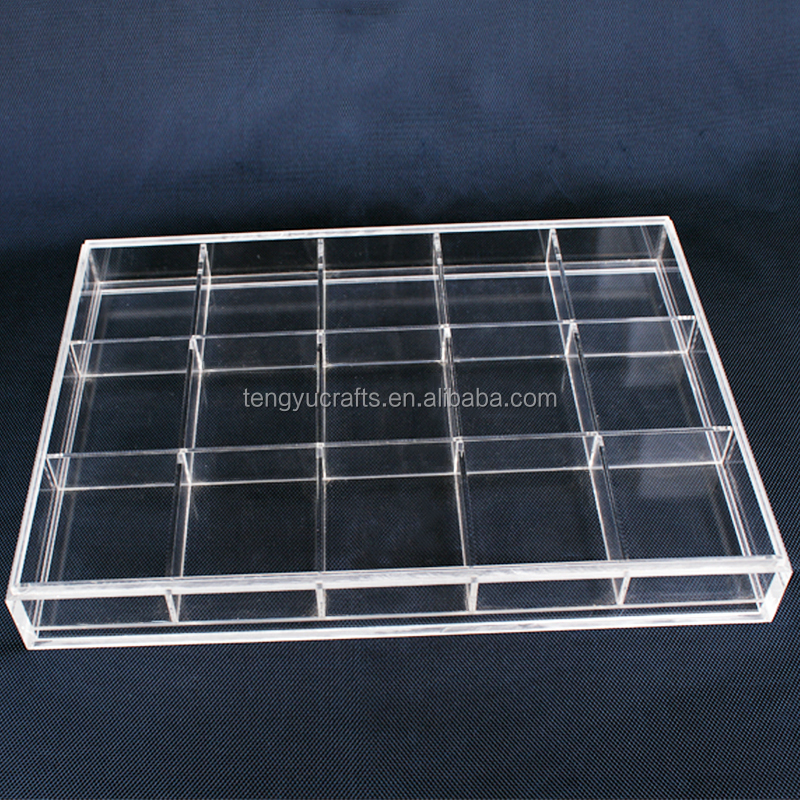 Acrylic lucid horizontal or pendental jewelry ornament goods counter top holder rack with multi compartment