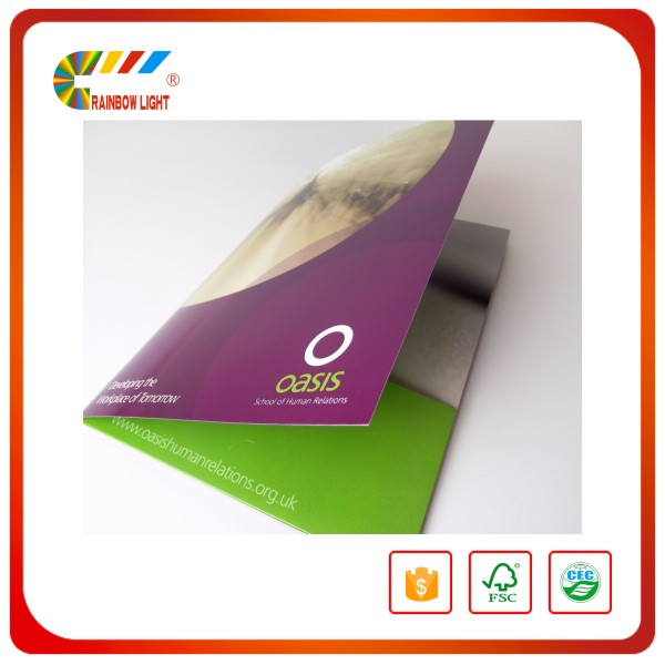 Hot cheap printing customized size with two flap thick cardstock green color drawing b5 folder