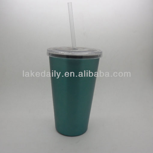 flashing stainless steel tumbler with plastic straw