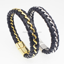 Stainless Steel Chain in Braided Leather Bracelets men