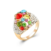 Gold finger rings design for women hidden camera colorful crystal ring