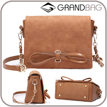 2017 fashion trend genuine leather chain shoulder bag women, lady leather messenger bag with bow knot