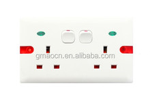 HWS6336SDL Double 13A switch socket with neon and 2 gang wall switch