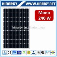pv module monocrystalline solar panel 240w 156*156mm size 60cell 30v 230w 240w solar panel for home made by Chinsese manufacture