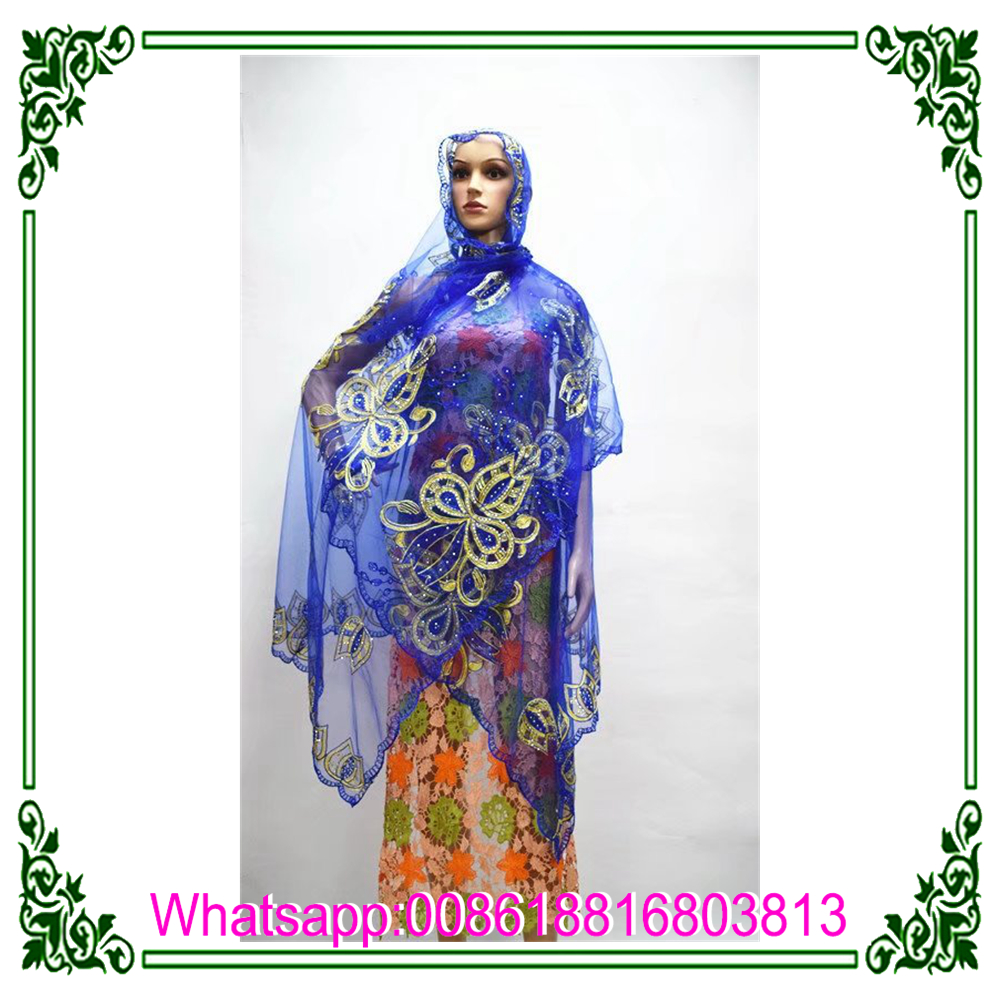 Wholesale women muslim scarf with stones and flower lace head scarf, head wrap