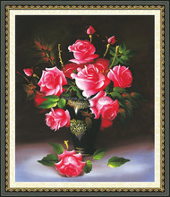 "'Pink Rose"" New 5D round crystal diy diamond painting"
