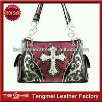 WESTERN CONCEALED CARRY GUN RHINESTONE CROSS HANDBAG PURSE
