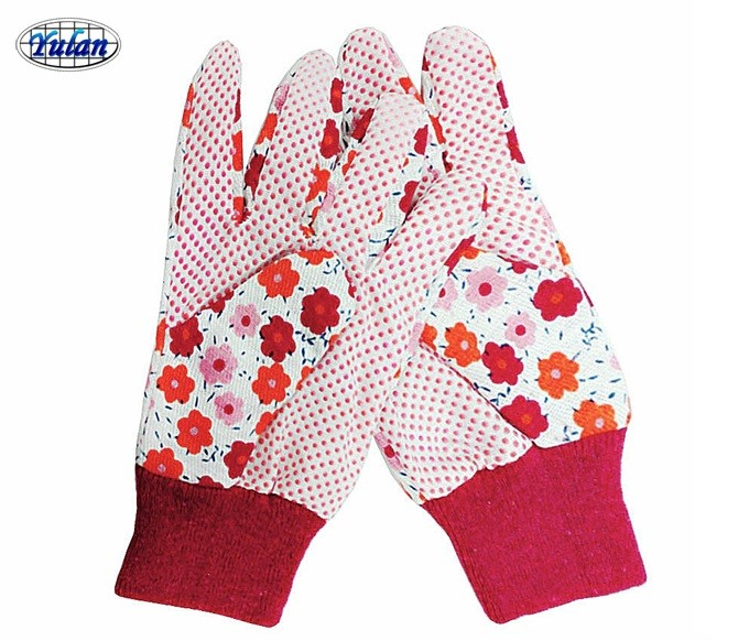 lady garden safety hand gloves with PVC dots on palm for sale