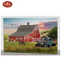China Factory Price Red Barn Design Wooden LED  Canvas Painting For Living Room Decoration