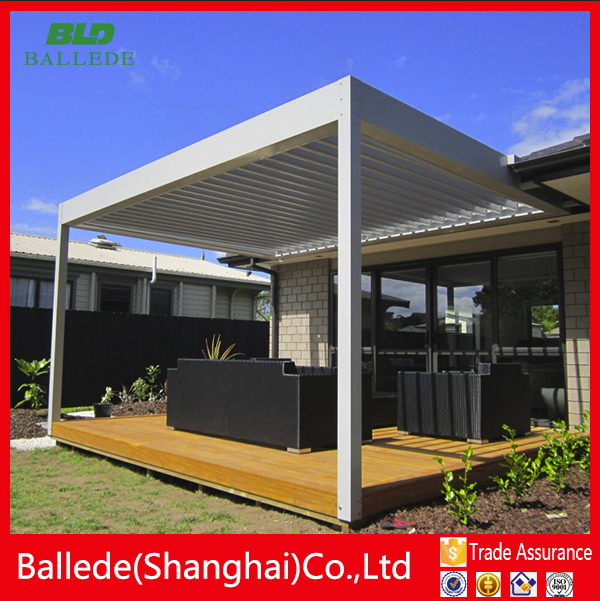 High quality sun louver Construction automatic aluminum slat blacony pergola
