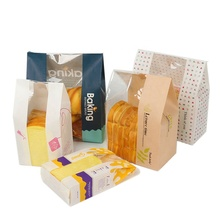 Custom Accept Kraft Paper Bread Bag with Clear Front Window