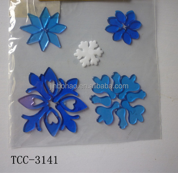 christmas snowflake glitter gel sticker for window