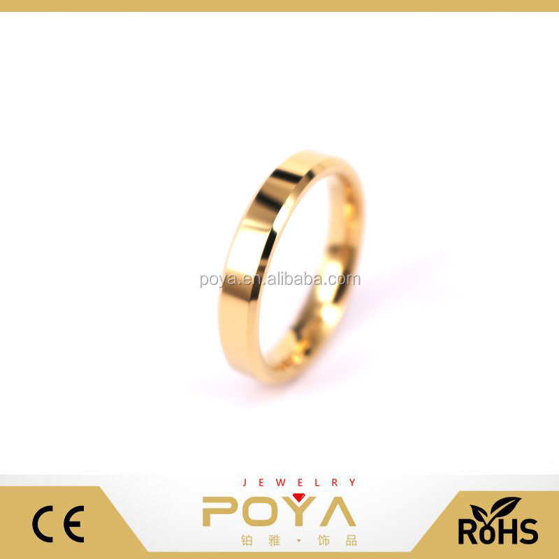 3mm Beveled Edges 14K Gold Plated Tungsten Carbide Blank Band Ring
