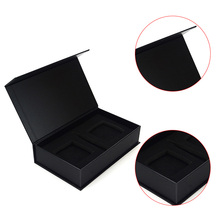 Handmade small magnetic gift box matte black gift box with magnetic lid