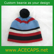 High Quality Acrylic Crochet Baby Boy Beanie Hat with Ball Top
