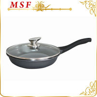 26cm die cast disposable aluminum fry pans with clear glass lid & stainless steel hollow knob MSF-6154