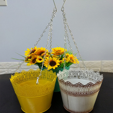 Wholesale custom decorative galvanized metal hanging basket planter