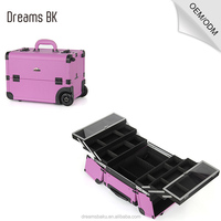 Purple professional rolling trolley makeup case with compartments for nail polishing artist