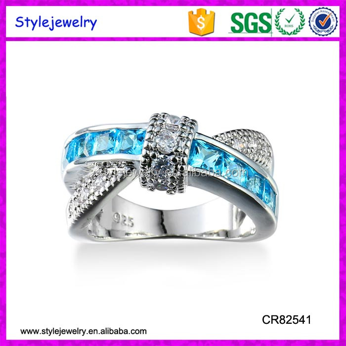 CR82541 Sterling Silver Round London Blue Sapphire Topaz White Created Sapphire Women's Engagement Ring