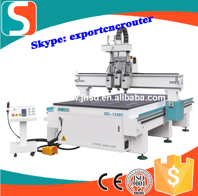 wood door making cnc router cutting three heads atc vertical horizontal drilling cnc engraving machine