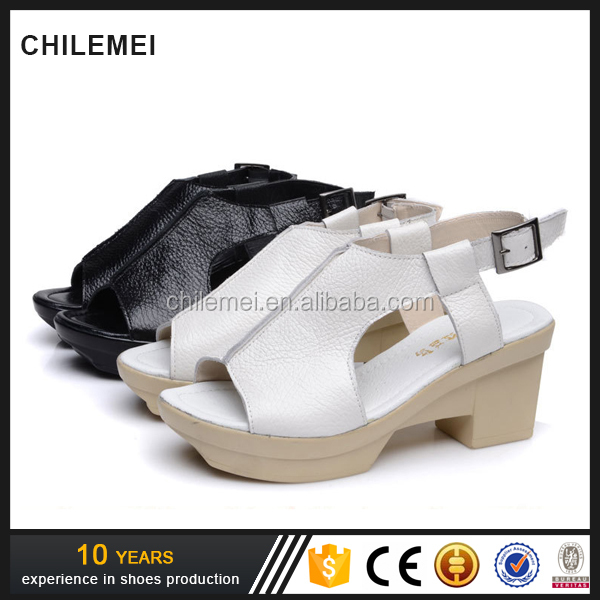 Platform Sandal Leather Waterproof Fish Mouth Thick Bottom Leisure Shoes