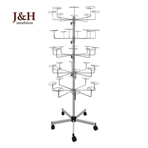 Chrome Plated Metal 5-Tier Spinner Cap Display Stand Rotating Floor Hat Display Rack for Retail Store