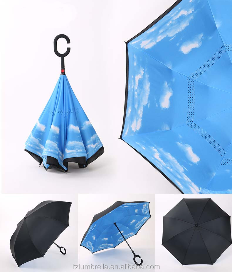 Excellent Windrproof Double Layer Reverse Umbrella With Magic C handle