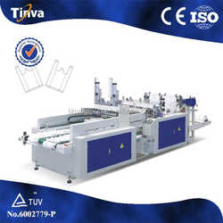 Full automatic high speed hot sealing hot cutting t-shirt plastic bag making machine price