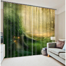 Fairy wood door photo printed bedroom curtains