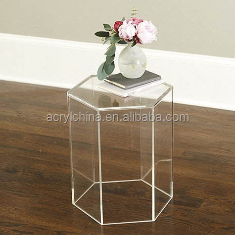 2017 new style mordern custom acrylic hexagon side table acrylic desk